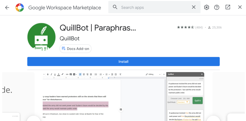 install quillbot extension