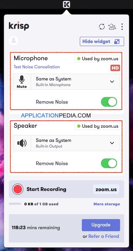 krisp app settings