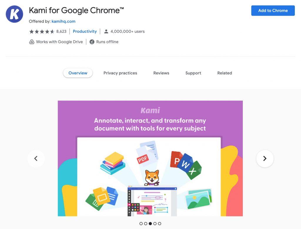 Kami Chrome extension