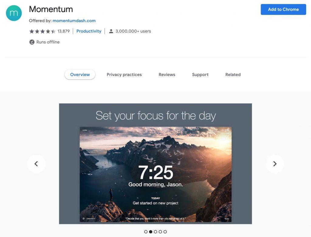 Momentum Chrome extension