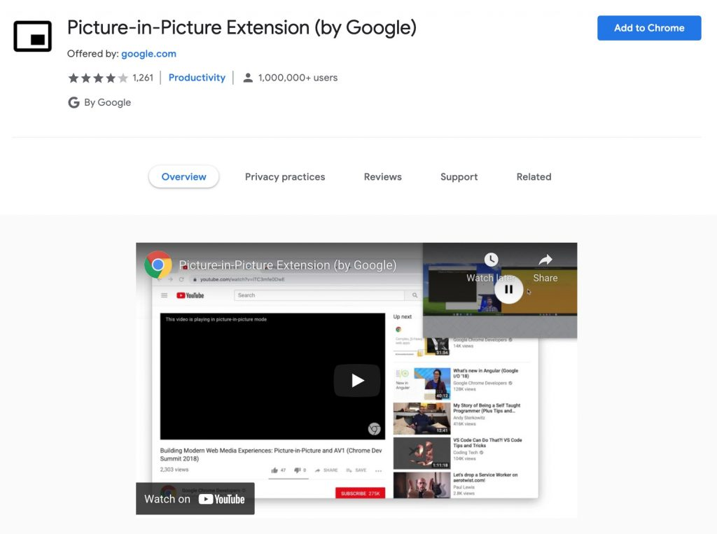 Picture-in-Picture Extension (by Google)