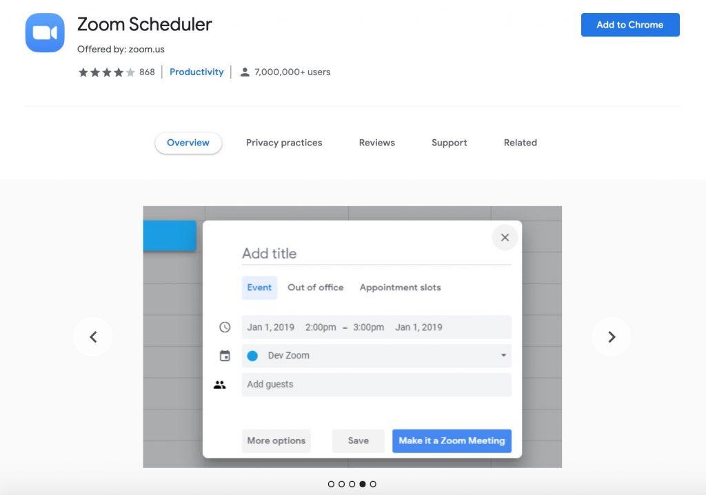 Zoom Scheduler Chrome Extension